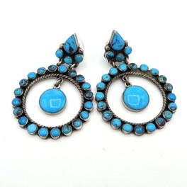 Fabulous vintage Navajo turquoise hoop earrings