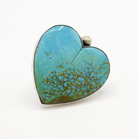 Turquoise and silver heart ring with silver bead by Mike Bird Romero