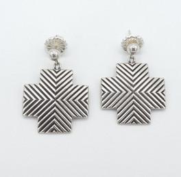 Silver linear cross earrings by Cody Sanderson.