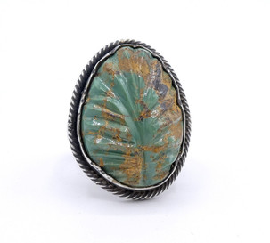 Steven Tiffany carved turquoise leaf set in  silver ring