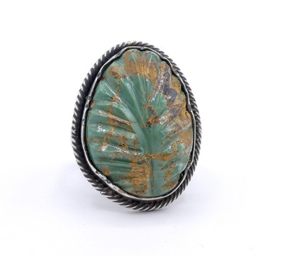 Carved turquoise leaf and silver Navajo contemporary ring