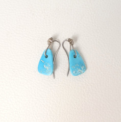Contemporary Navajo turquoise and silver tab earrings