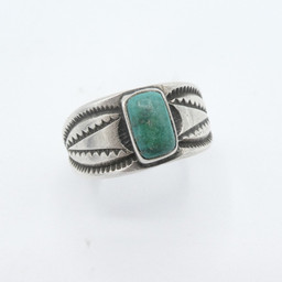 Early, rectangular cut turquoise ring ex Sharon Aberle Collection
