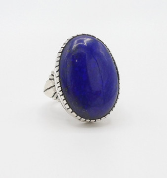Contemporary Navajo lapis and silver ring with stamping