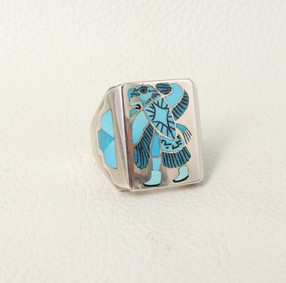 Turquoise micro inlay and silver signet Zuni ring
