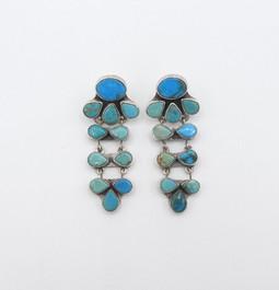 Vintage Navajo turquoise chandelier earrings
