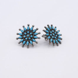 Turquoise cluster petit-point vintage Zuni earrings