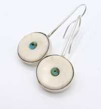 Fossilised ivory with inlaid turquoise bead and silver earrings - Mike Bird Romero.