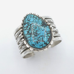 C18 Persian turquoise and silver cuff