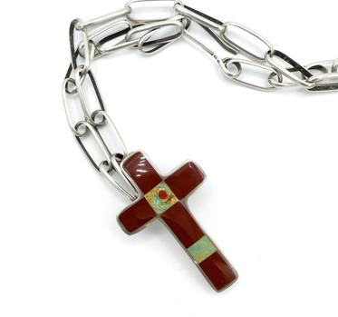 Santo Domingo Pueblo artist  Mary C Lovato inlay cross pin / pendant