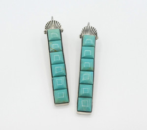 Mike Bird Romero turquoise and silver coble stone inlay earrings