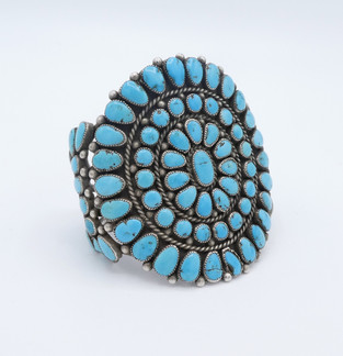Fabulous large old pawn turquoise and silver cluster cuff.
