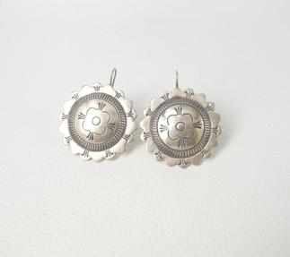 Vintage Navajo stamped button earrings