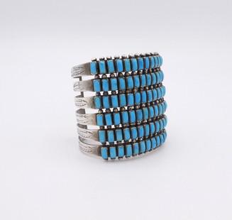 Amazing wide six row vintage Navajo rectangular cut turquoise row cuff.