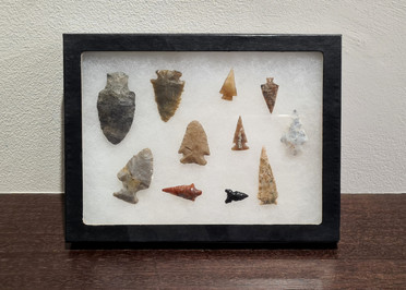 Historic Plains Indian carved arrow head collection
