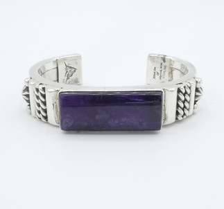 Albert Lee silver detailed cuff set with purple sugilite.