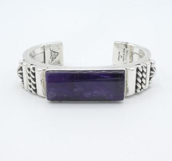 Albert Lee silver detailed cuff set with purple sugilite.