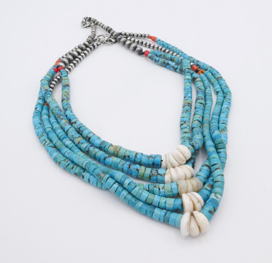 Vintage selection of blue turquoise with clam shell and silver beads jochla necklaces.