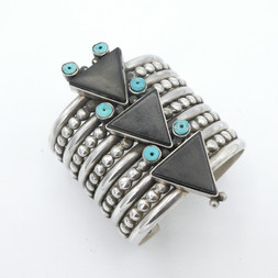 C12 Acoma Jet and Turquoise silver wide cuff