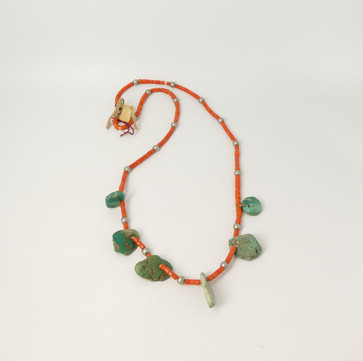 Vintage  coral and turquoise tabs heishi necklace