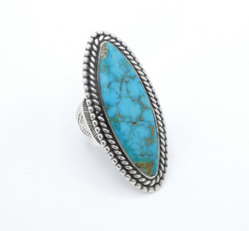 1930's Blue Gem turquoise with twisted wire and stampwork detail on shank