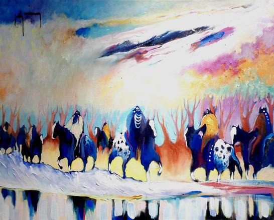 Bruce King. 'Early Spring on the Platt' oil on canvas.