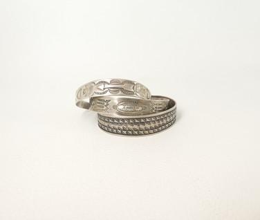 Vintage Navajo silver stamped stacking cuffs