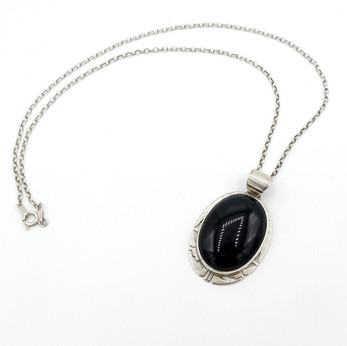 Jet and silver handmade pendant with silver chain