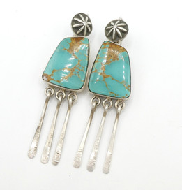 Nevada turquoise and silver contemporary Navajo earrings