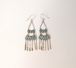 Contemporary turquoise and silver petit-point earrings