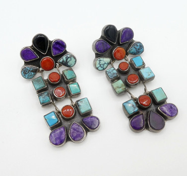 Vintage natural stone earrings by Oscar Betz