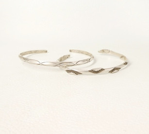 Great vintage silver navajo men's sized stamped cuffs