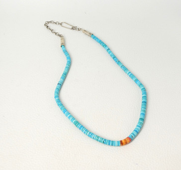 Fine turquoise and heishi with orange spiny oyster shell  by Piki Wadsworth