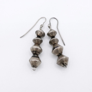 Navajo vintage silver bead earrings.