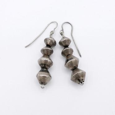 Navajo vintage silver bead earrings.
