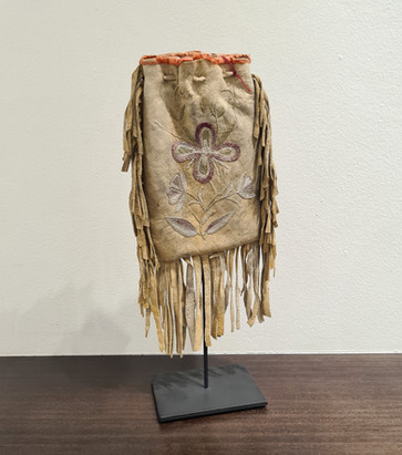 Embroided Woodlands pouch, circa 1800's with stand