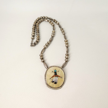 Apache Gaan dancer vintage Zuni inlay pendant with silver beads necklace by Paula Leekity