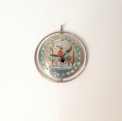 1970's Zuni silver spinner pendant with duck motif inlaid