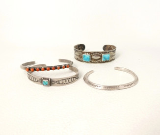 A wonderful select collection of vintage Navajo and Zuni children's cuffs
