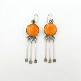 Raincloud orange spiny oyster shell and silver earrings by Mike Bird Romero