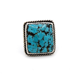 Vintage Navajo square set large turquoise and silver ring