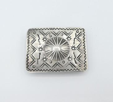 Vintage silver stamped Navajo buckle