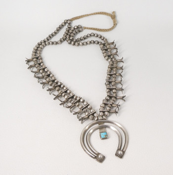 Vintage Navajo silver squash blossom necklace with double crescent naja with turquoise