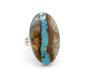 Contemporary Navajo ring of blue boulder turquoise set in silver
