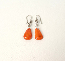 Contemporary Navajo apple coral and silver tab earrings