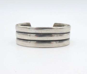 Vintage Navajo silver wide three banded cuff