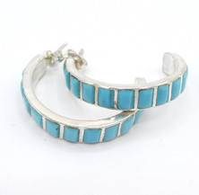 Contemporary Zuni turquoise inlay and silver hoops.