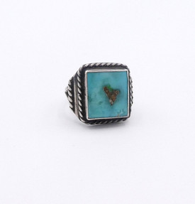 Square cut turquoise signet style vintage Navajo ring.