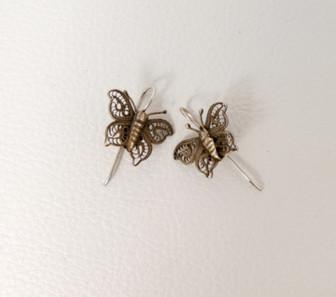 Vintage silver wire butterfly earrings