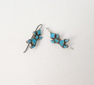 Vintage turquoise Rainbow Dancer silver earrings
